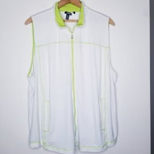 Chaps White/Lime Jersey Knit Full Zip Vest Size 3X
